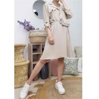 textil Dam Korta klänningar Fashion brands CD2293-BEIGE Beige