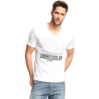 textil Herr T-shirts Gaudi 111GU64069 Vit