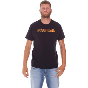 textil Herr T-shirts Sundek M049TEJ7800 Svart