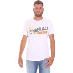 textil Herr T-shirts Lumberjack CM60343 026EU Vit