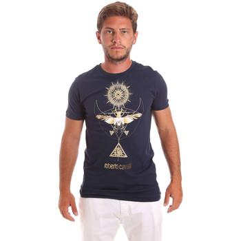 textil Herr T-shirts Roberto Cavalli HST65B Blå