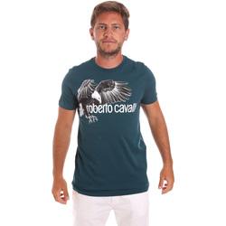 textil Herr T-shirts Roberto Cavalli HST68B Grön