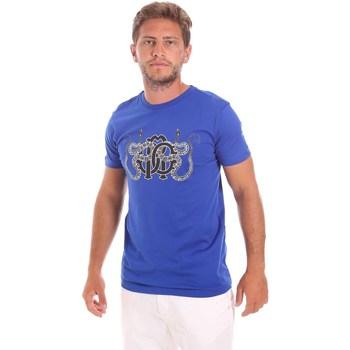 textil Herr T-shirts Roberto Cavalli HST66B Blå