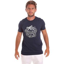 textil Herr T-shirts Roberto Cavalli HST64B Blå