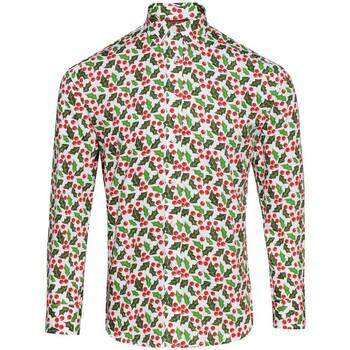 textil Herr Långärmade skjortor Christmas Shop CS001 Holly White