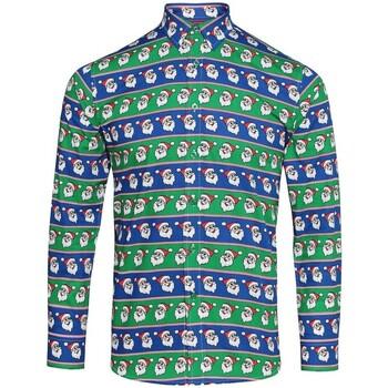 textil Herr Långärmade skjortor Christmas Shop CS001 Santa Blue/Green