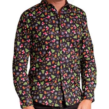 textil Herr Långärmade skjortor Christmas Shop CS001 Svart Sortiment