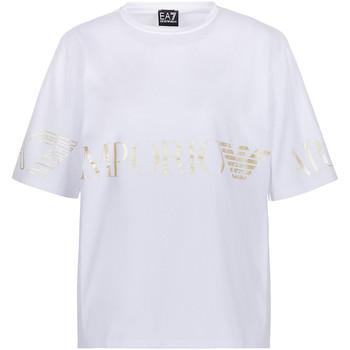 textil Dam T-shirts Ea7 Emporio Armani 3KTT18 TJ29Z Vit