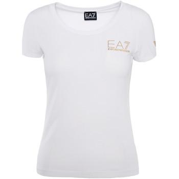 textil Dam T-shirts Ea7 Emporio Armani 8NTT65 TJ28Z Vit