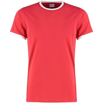 textil Herr T-shirts Kustom Kit KK508 Röd/vit