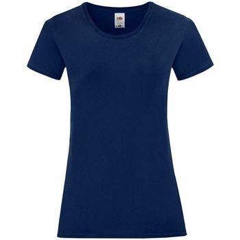 textil Dam T-shirts & Pikétröjor Fruit Of The Loom 61432 Marinblått