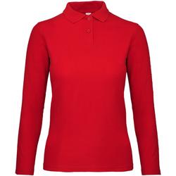 textil Dam Långärmade pikétröjor  B And C PWI13 Crimson