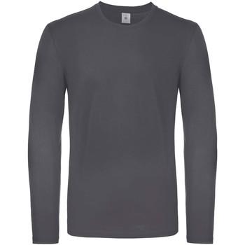 textil Herr Långärmade T-shirts B And C TU05T Mörkgrå