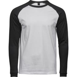 textil Herr Långärmade T-shirts Tee Jays T5072 Vit/Svart