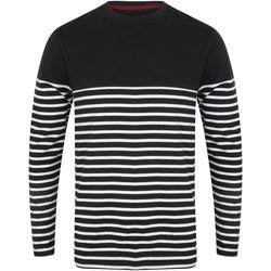 textil Herr Långärmade T-shirts Front Row FR134 Marinblått/vit
