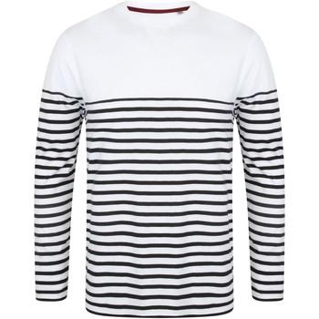 textil Herr Långärmade T-shirts Front Row FR134 Vit/marinefärgad