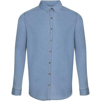 textil Herr Långärmade skjortor Awdis SD040 Ljusblå