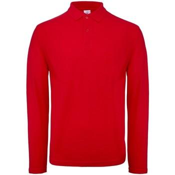 textil Herr Långärmade pikétröjor  B And C BA290 Röd