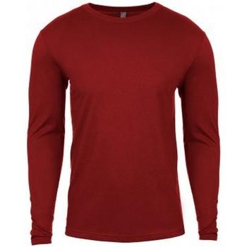 textil Herr Långärmade T-shirts Next Level NX3601 Mörkröd