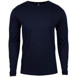 textil Herr Långärmade T-shirts Next Level NX3601 Marinblått