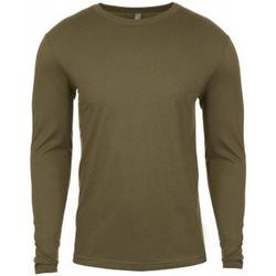 textil Herr Långärmade T-shirts Next Level NX3601 Militärt grönt