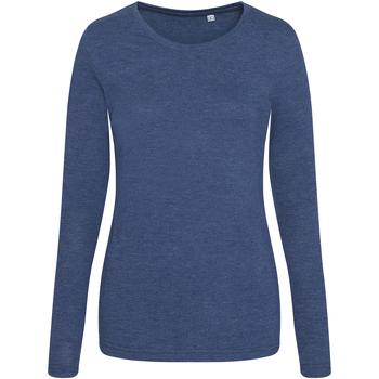 textil Dam Långärmade T-shirts Awdis JT02F Marinblått