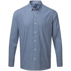 textil Herr Långärmade skjortor Premier PR252 Marinblått/vit