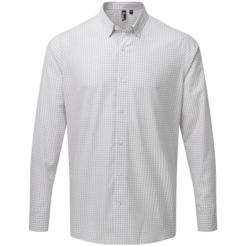 textil Herr Långärmade skjortor Premier PR252 Silver/vit