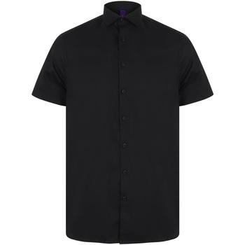 textil Herr Kortärmade skjortor Henbury HB537 Svart