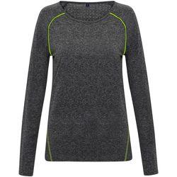 textil Dam Långärmade T-shirts Tridri TR040 Svart melange