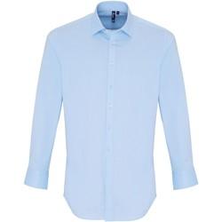 textil Herr Långärmade skjortor Premier PR244 Ljusblå