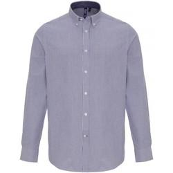 textil Herr Långärmade skjortor Premier PR238 Vit/marinefärgad
