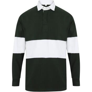 textil Långärmade pikétröjor  Front Row FR07M Flaskegrön/vit