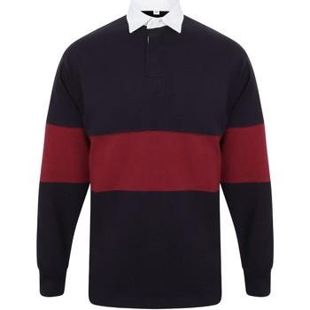 textil Långärmade pikétröjor  Front Row FR07M Marinblått/Burgrött