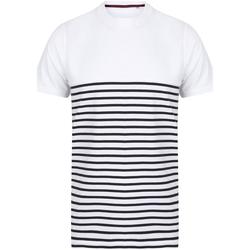 textil T-shirts & Pikétröjor Front Row FR135 Vit/marinefärgad