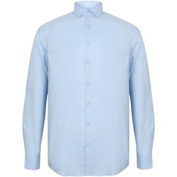 textil Herr Långärmade skjortor Henbury HB532 Ljusblå