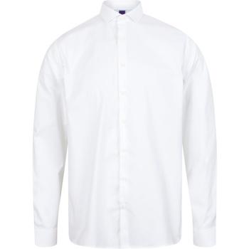 textil Herr Långärmade skjortor Henbury HB532 Vit