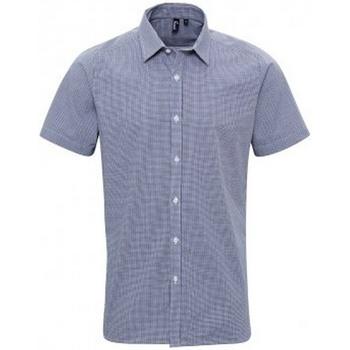 textil Herr Kortärmade skjortor Premier PR221 Marinblått/vit