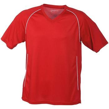 textil T-shirts James And Nicholson  Röd/vit