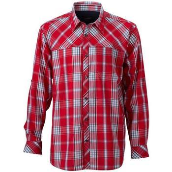 textil Herr Långärmade skjortor James And Nicholson  Röd/Navy