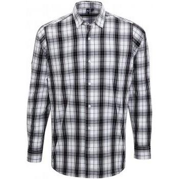 textil Herr Långärmade skjortor Premier PR254 Svart/vit