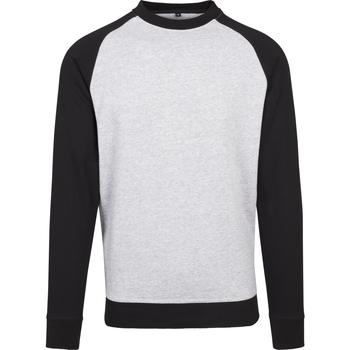 textil Herr Långärmade T-shirts Build Your Brand BY076 Grått/svart