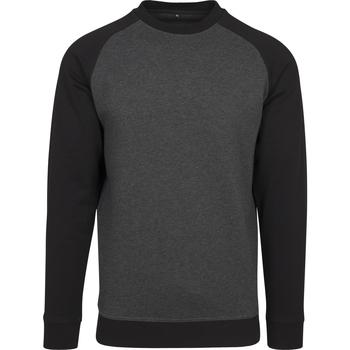textil Herr Långärmade T-shirts Build Your Brand BY076 Kol/svart