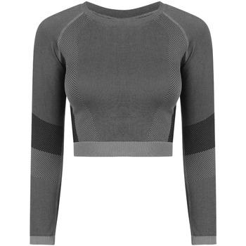 textil Dam Långärmade T-shirts Tombo TL352 Ljusgrå/Svart