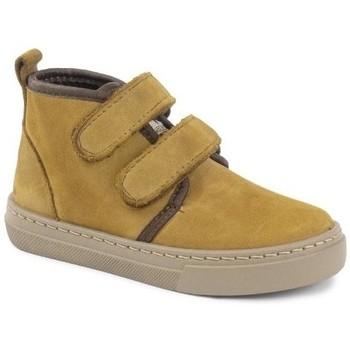 Skor Flickor Boots Cienta Bottines fille  Doble Velcro On Napa jaune orangé