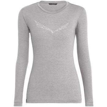 textil Dam Långärmade T-shirts Salewa Solidlogo Dry W L/S Tee 27341-0624 grey