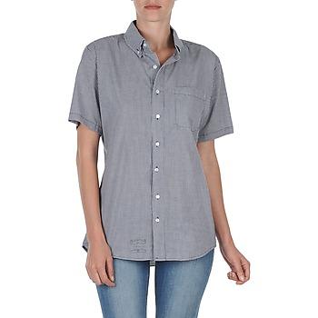 textil Dam Kortärmade skjortor American Apparel RSACP401S Vit / Blå