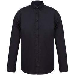 textil Herr Långärmade skjortor Henbury H512S Svart
