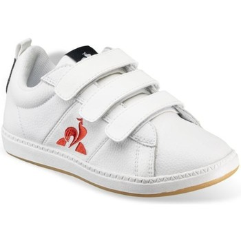 Skor Barn Sneakers Le Coq Sportif Chaussures enfant  courtclassic blanc/rouge