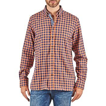 textil Herr Långärmade skjortor Hackett SOFT BRIGHT CHECK Orange / Blå